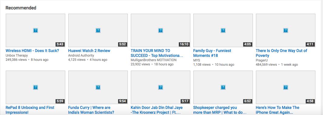 Youtube thumbnails not appearing on Safar… - Apple Community