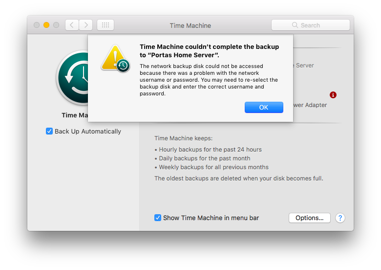 Can't Backup to Server TM - Apple Community