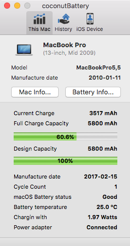 mac battery not charging to 100