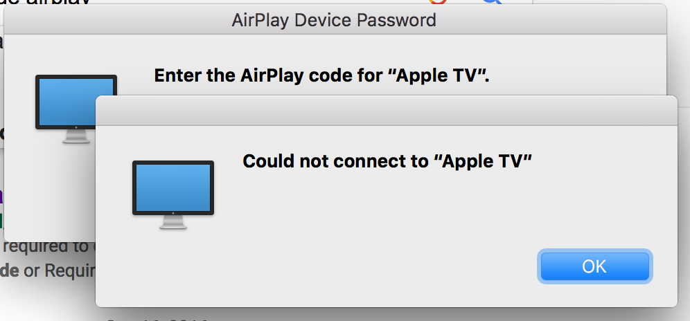 Suddenly can't Airplay, error after o… - Apple Community