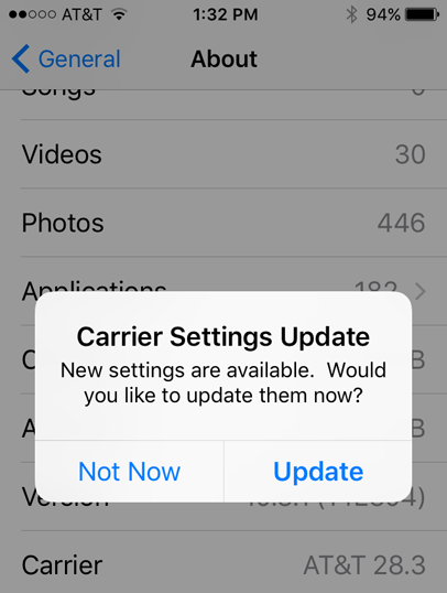 Carrier Settings Update popups  Real? Sca… - Apple Community