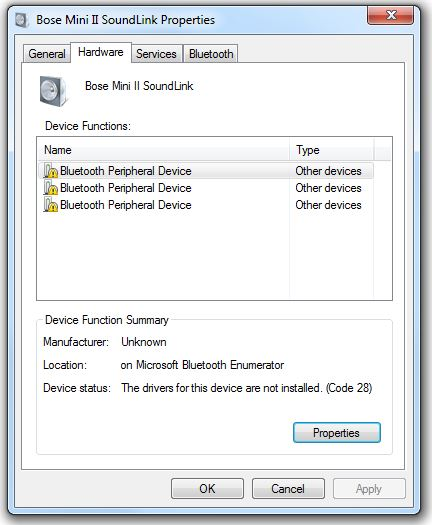 bluetooth peripheral device drivers device not installed code 28