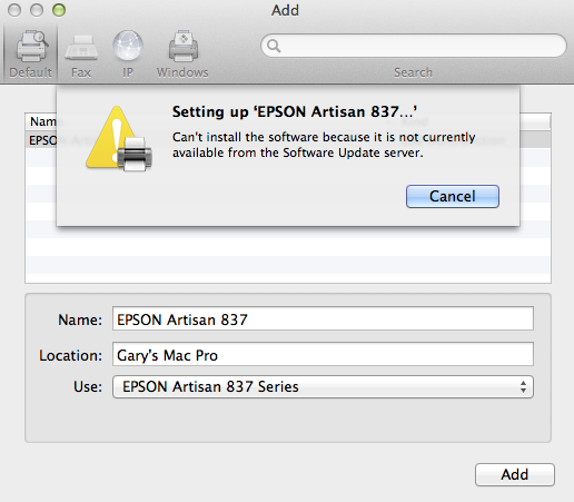 Issue downloading Epson Artisan 837 Driver - Apple Community
