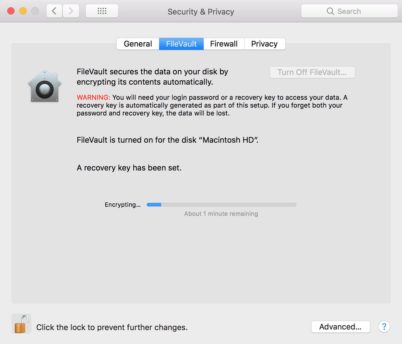 FileVault encryption stuck with 1 min rem… - Apple Community
