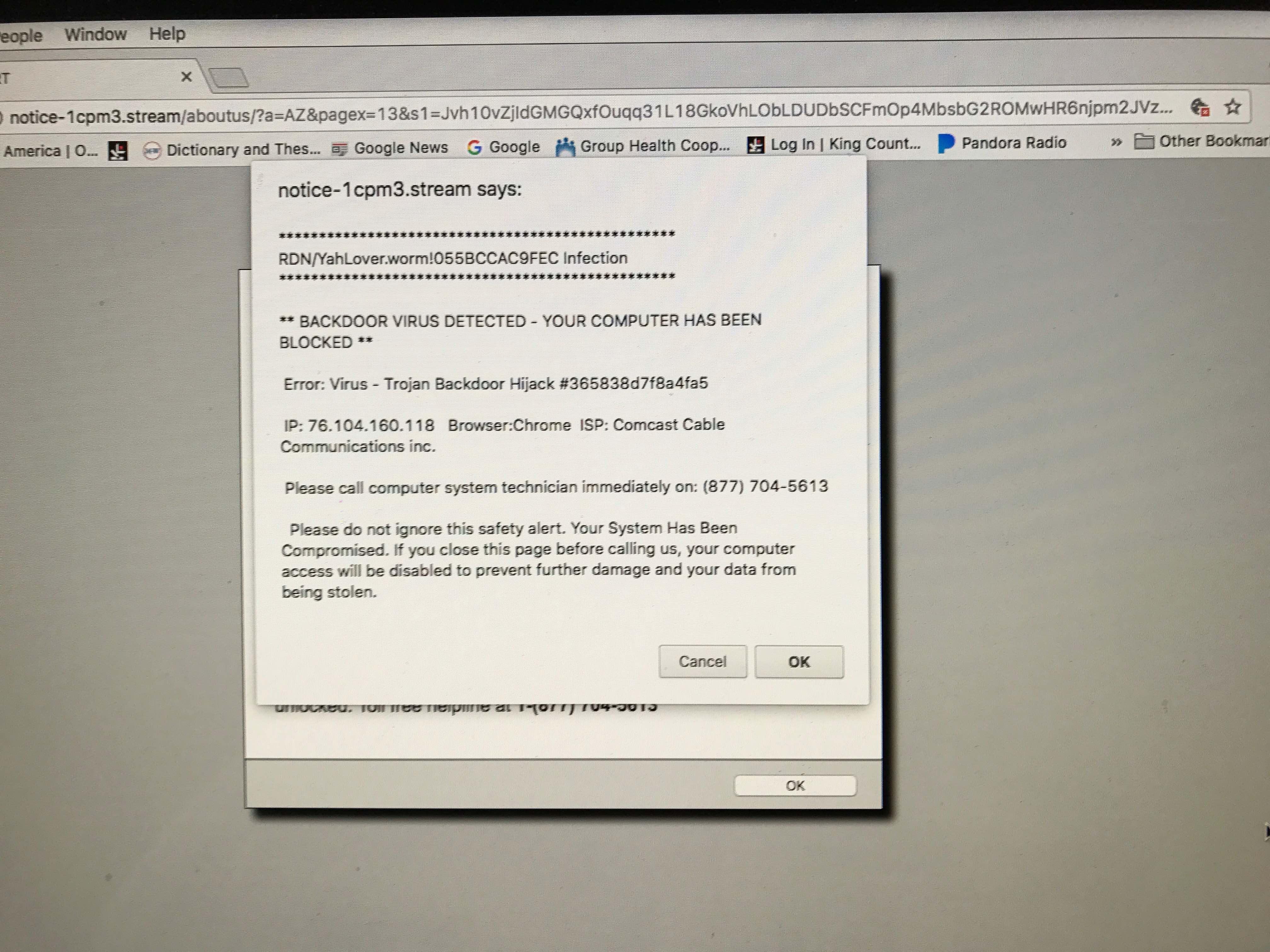 Backdoor Virus pop-up issue - Apple Community