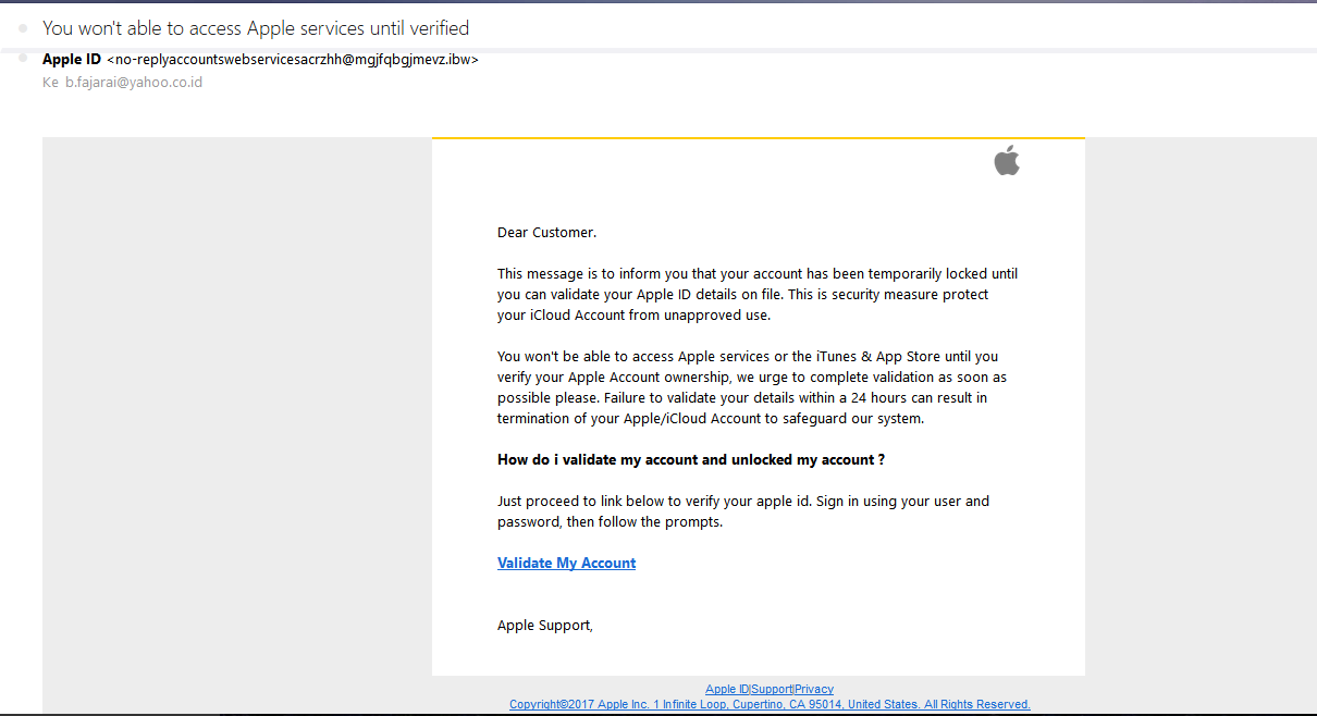 Fake email of apple id