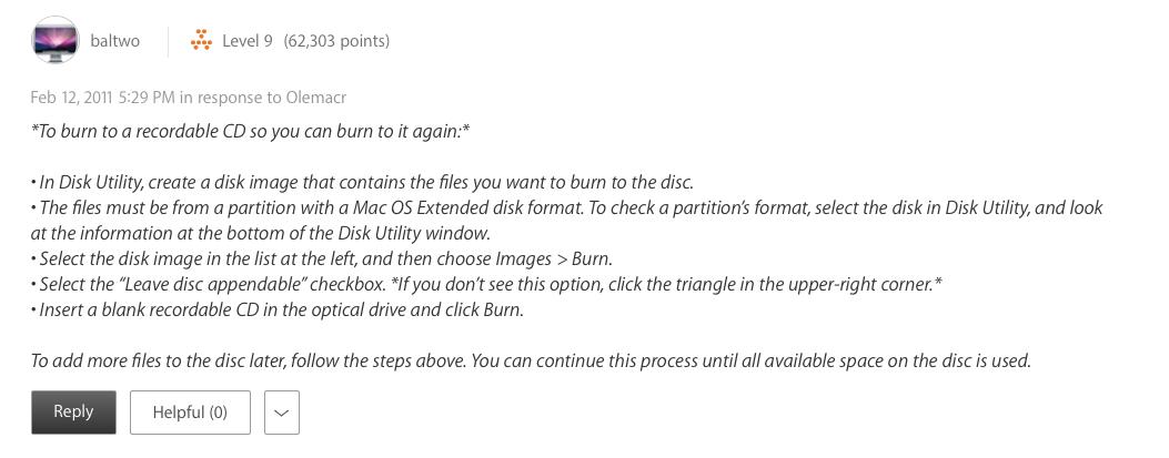 Sierra's data burning system - multi-… - Apple Community