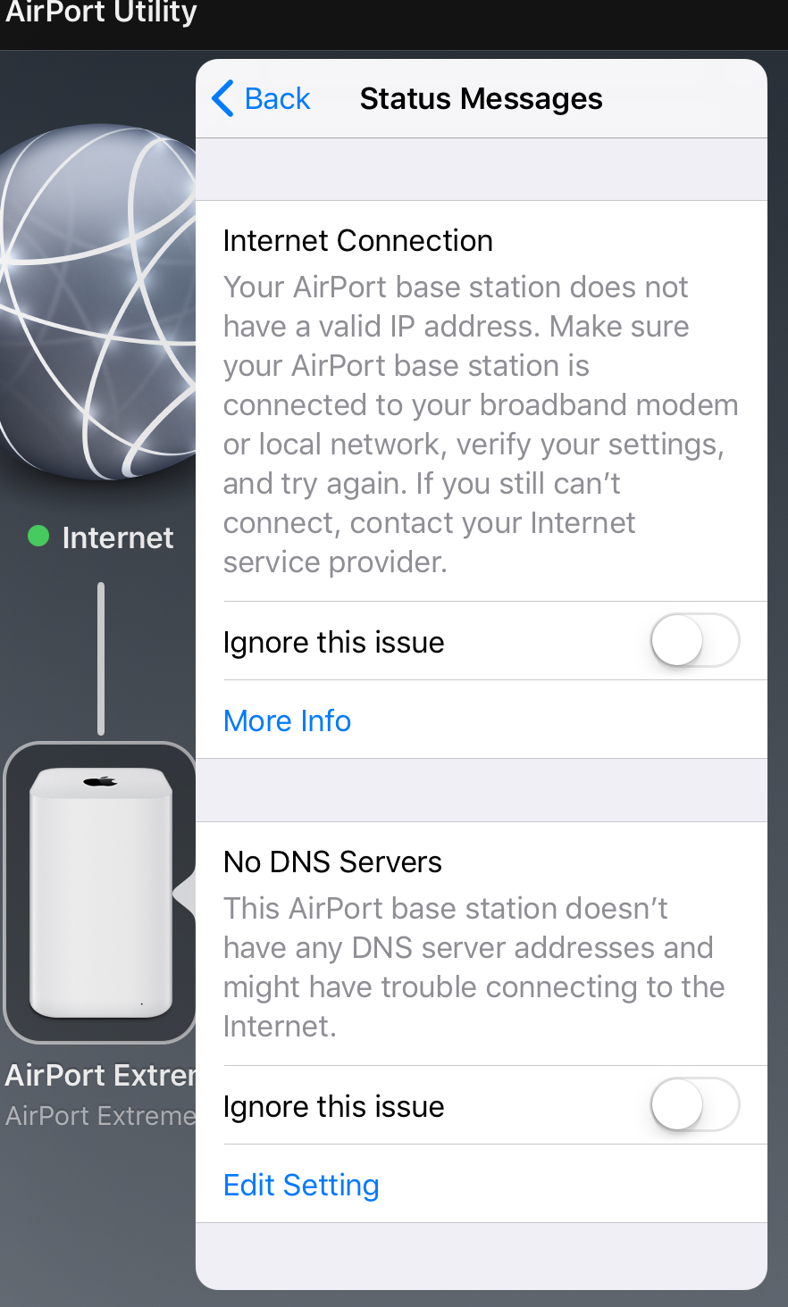 AirPort Extreme valid IP address problems - Apple Community