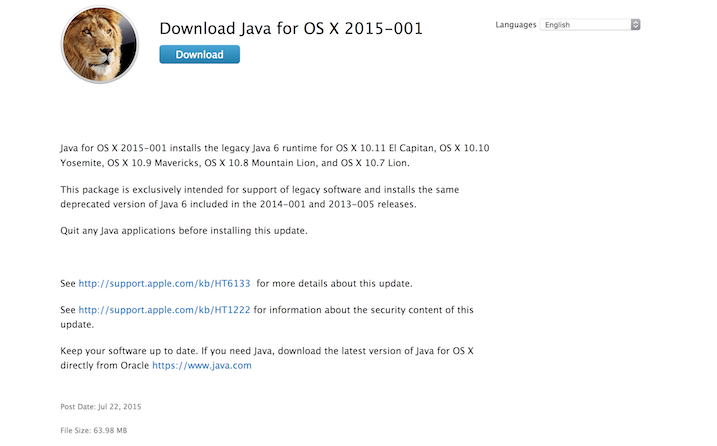 How do I install Legacy Java SE 6 for El … - Apple Community