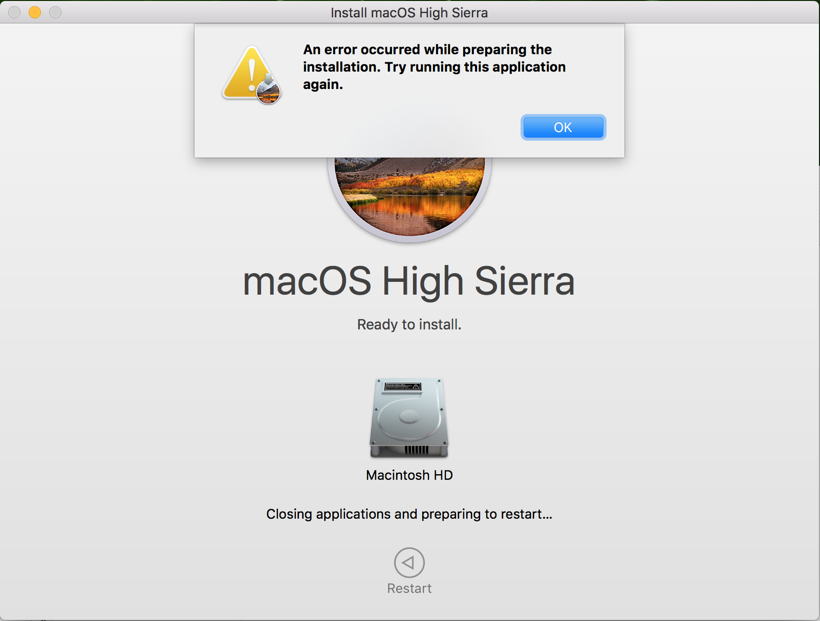 Unable to install High Sierra -