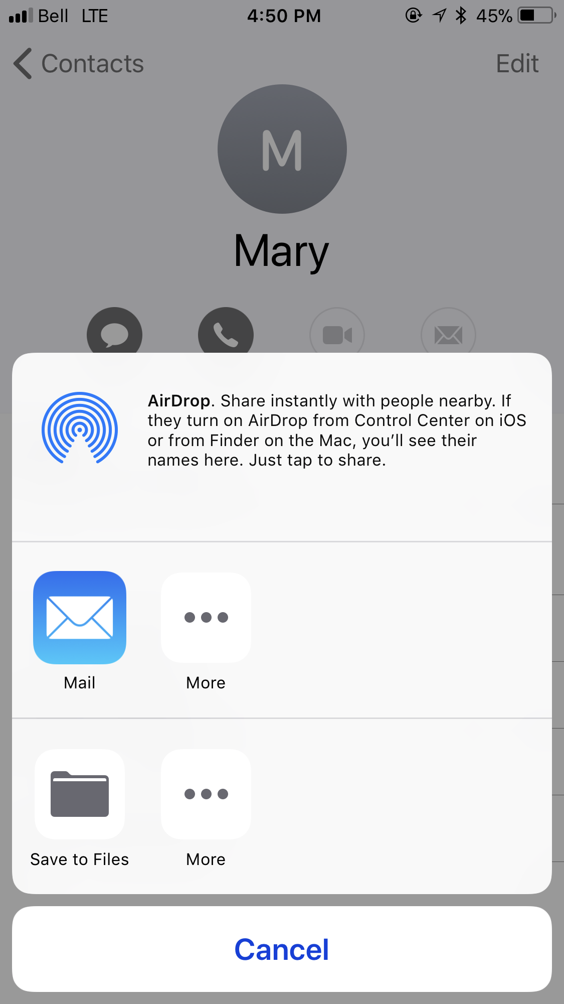 IOS 11- cannot share contacts via text me… - Apple Community