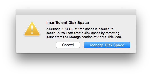 Insufficient Disk Space while having over… - Apple Community