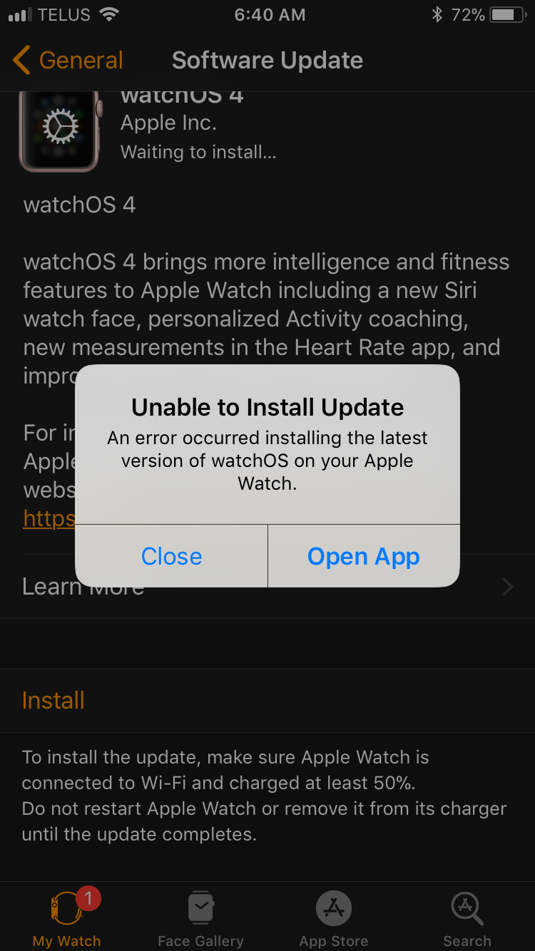 unable to update apple watch to watch os 4 - Apple Community