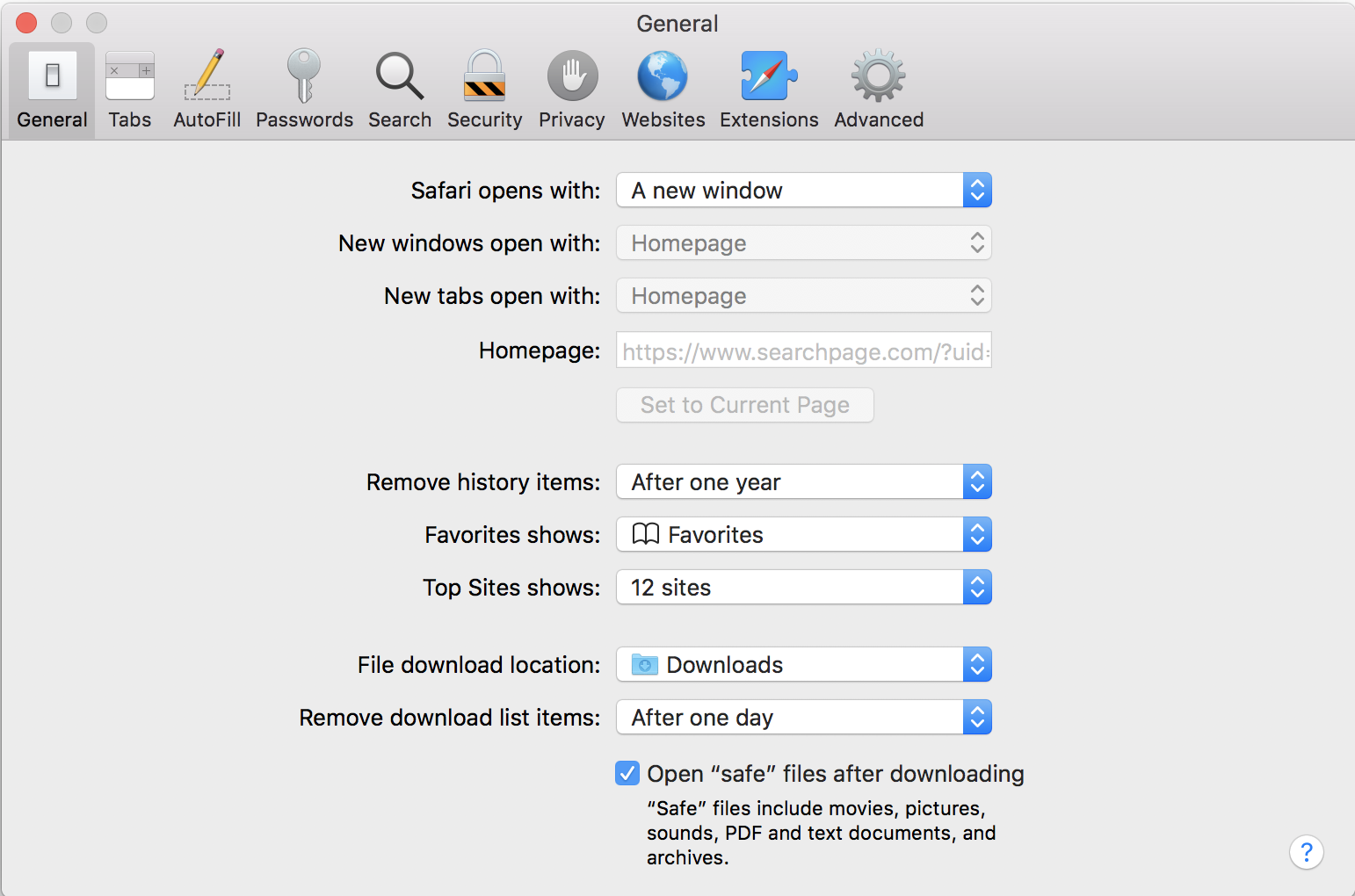 how to change the homepage on a mac safari