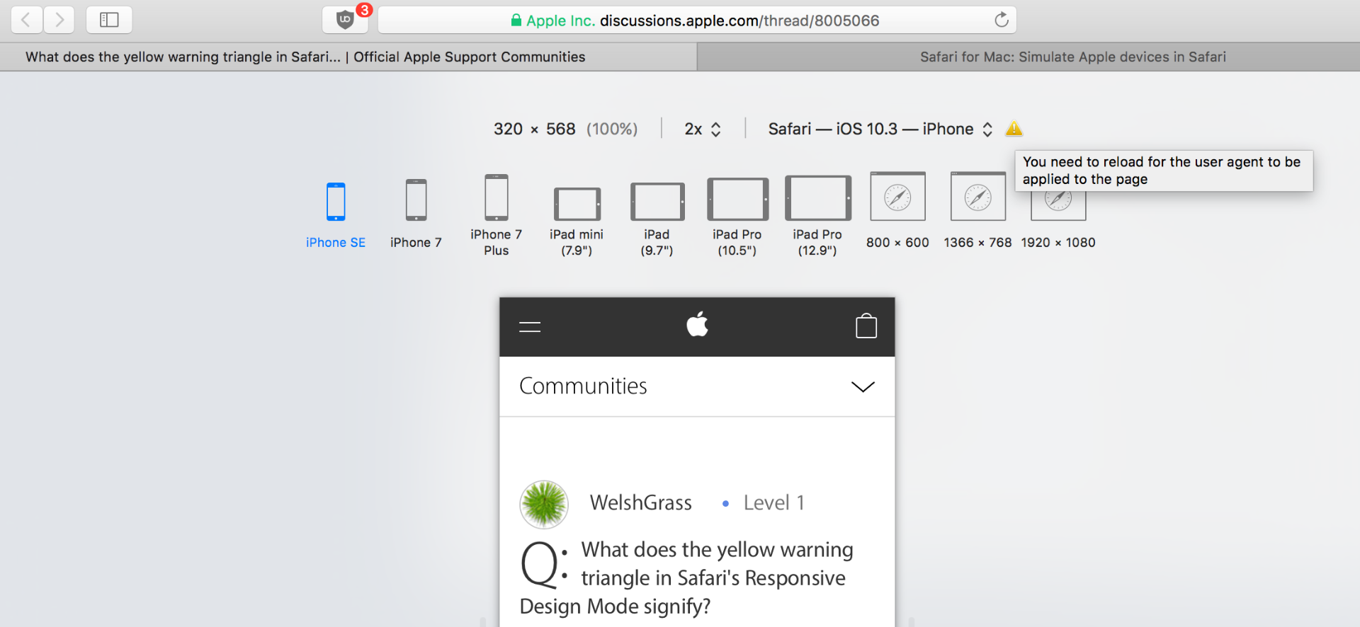 What does the yellow warning triangle in … - Apple Community