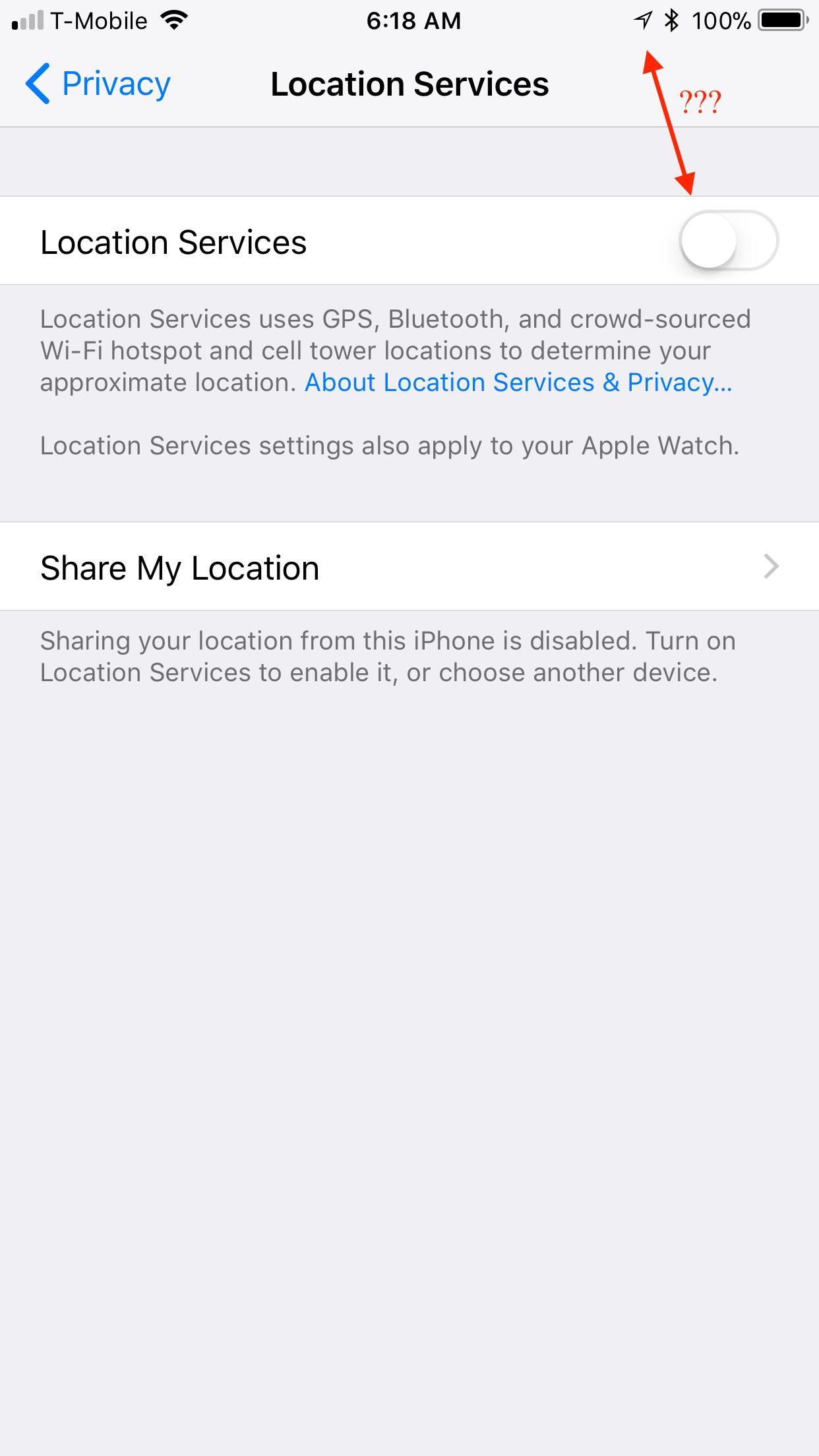 Ios 11 Hollow Arrow And System Location S Apple Community