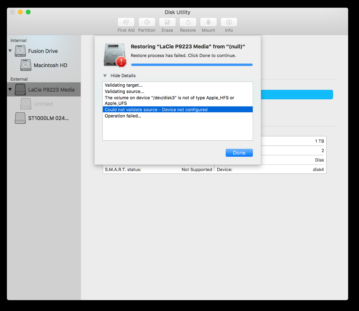 Disk Utility Could Not Validate Source