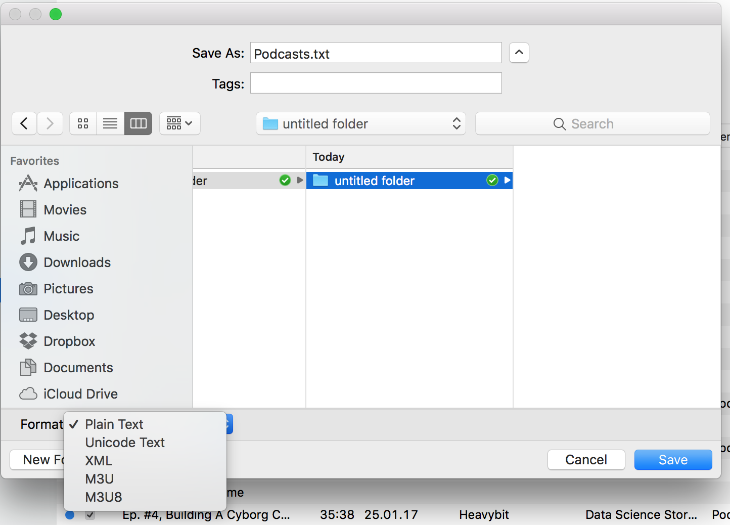 Podcasts, How to export to  OPML file in … - Apple Community