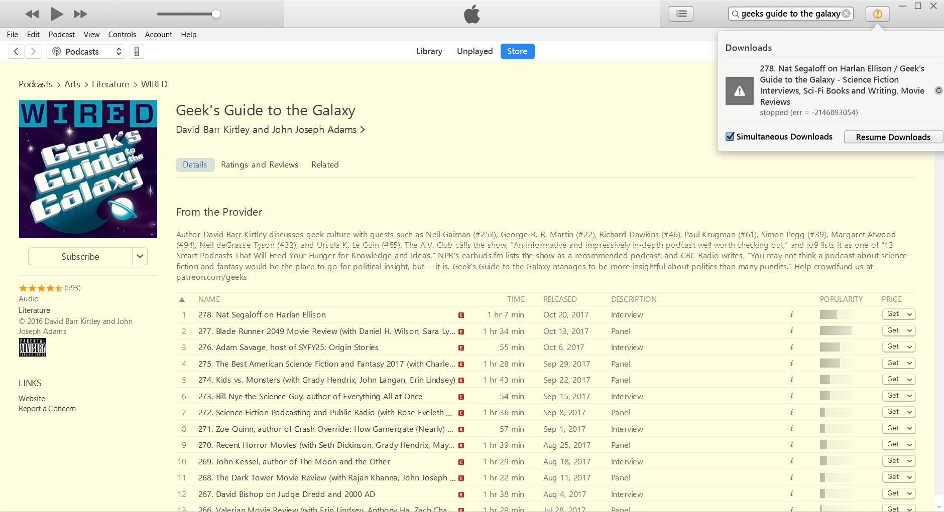 Itunes podcast download error 2146893054 - Apple Community