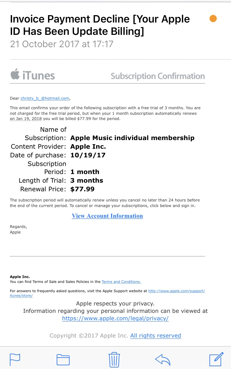 how not to renew apple music