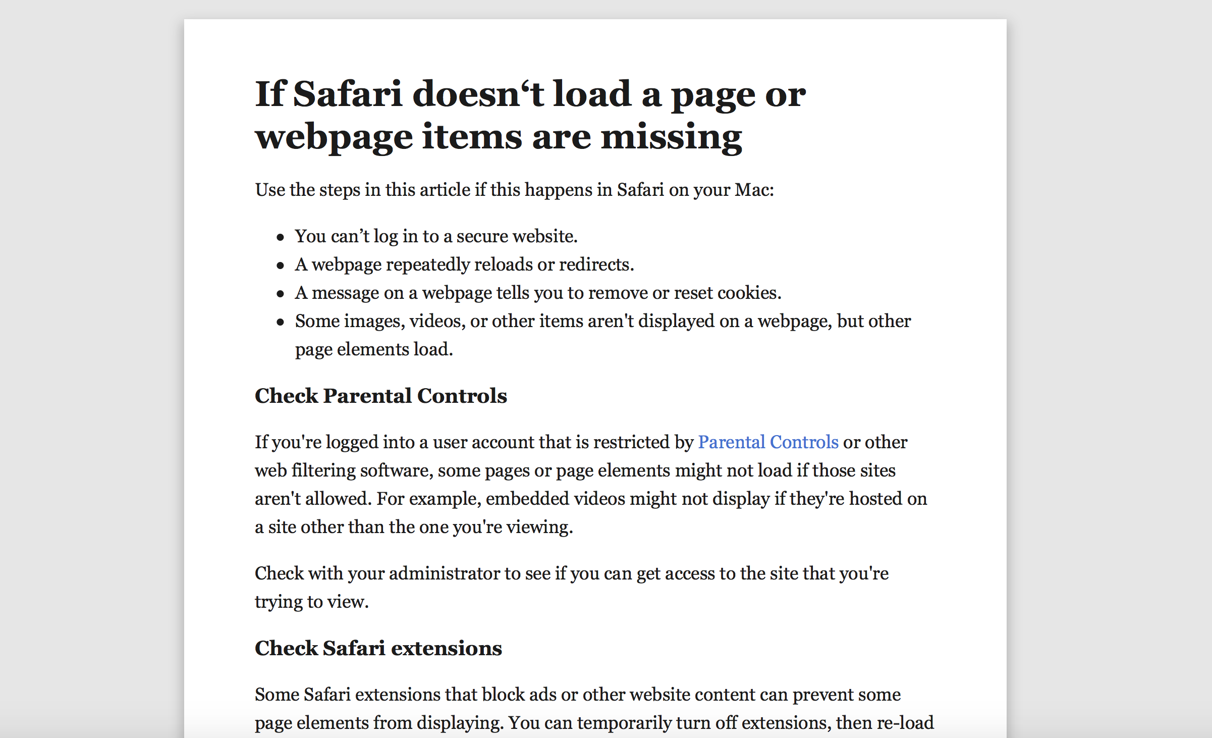 some web pages not loading on mac