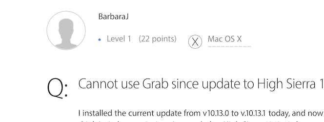Cannot use Grab since update to High Sier… - Apple Community