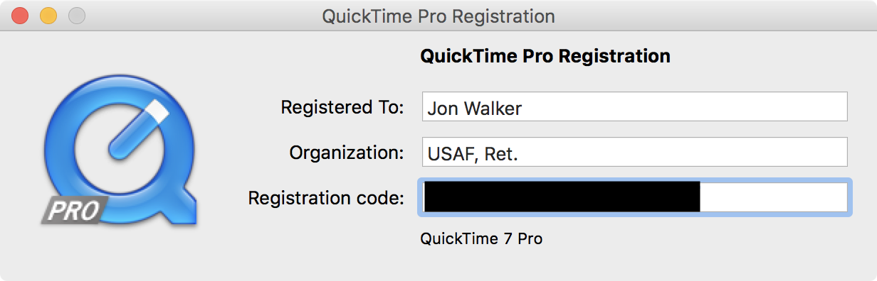 quicktime player 7 pro license key