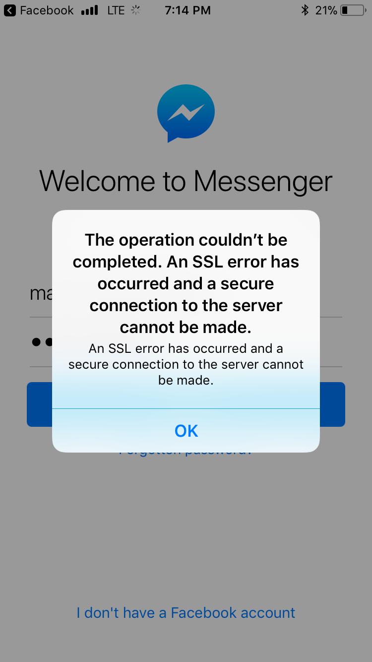 iPhone messenger SSL error and safari err… - Apple Community