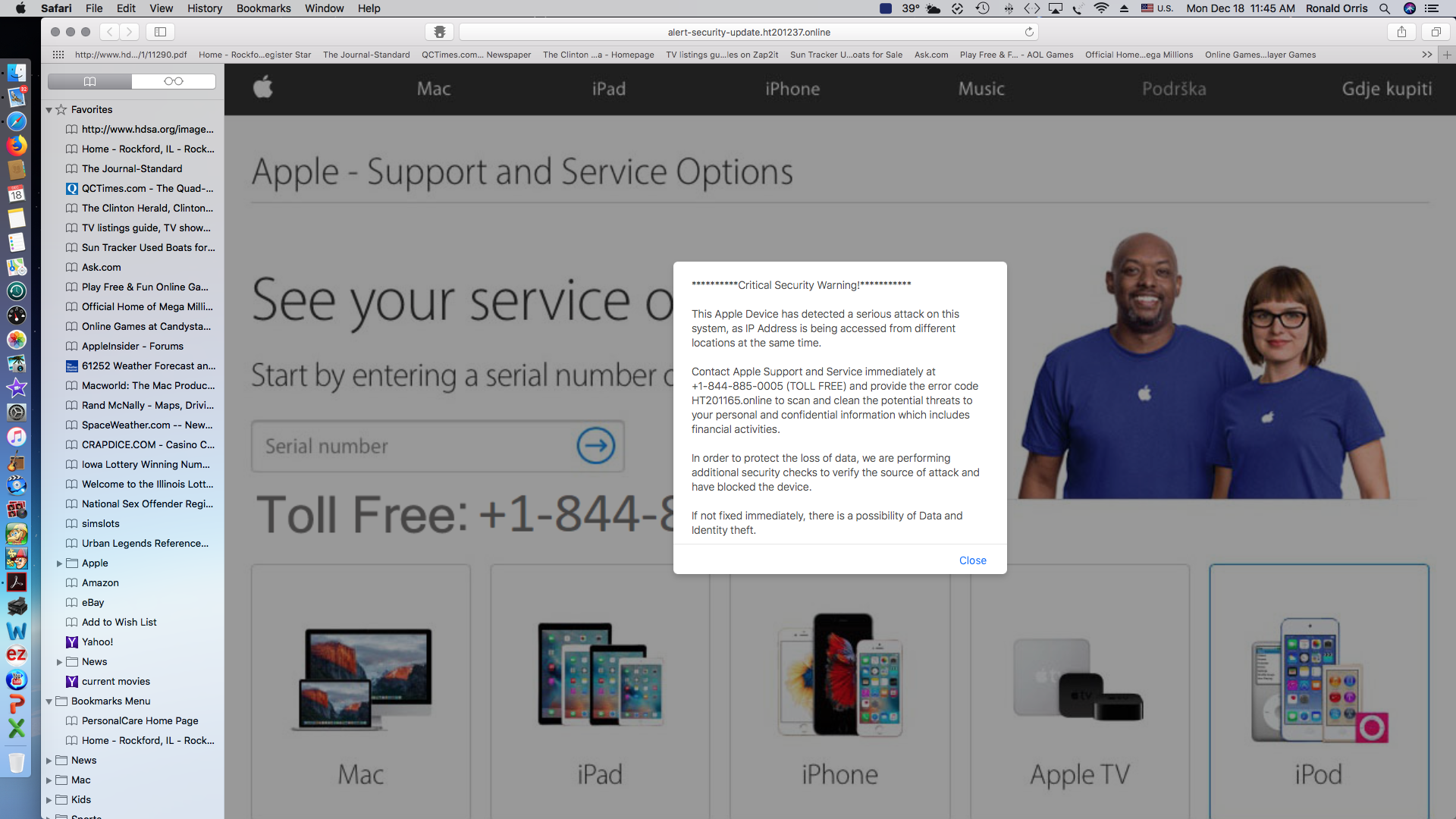 Critical security Warning scam?? - Apple Community