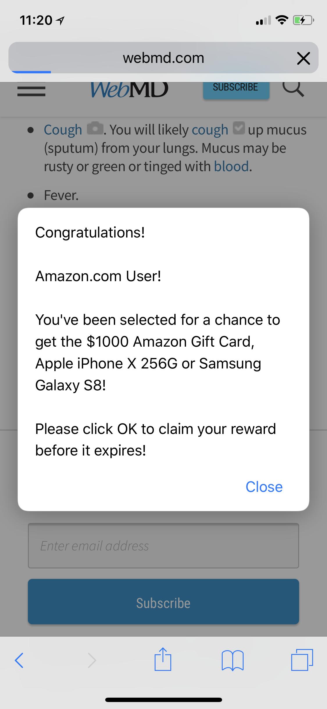 I keep getting this Congratulations Amazo… - Apple Community