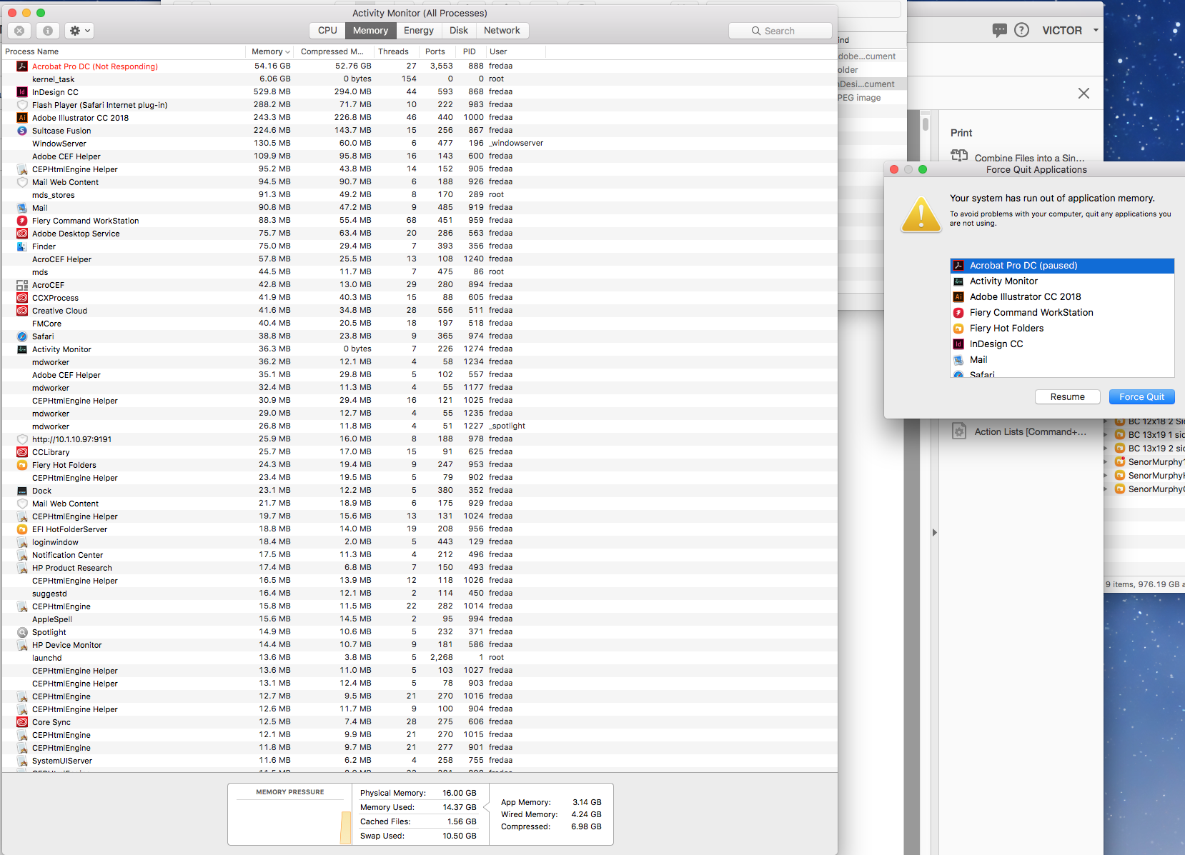 run out of application memory - Apple Community
