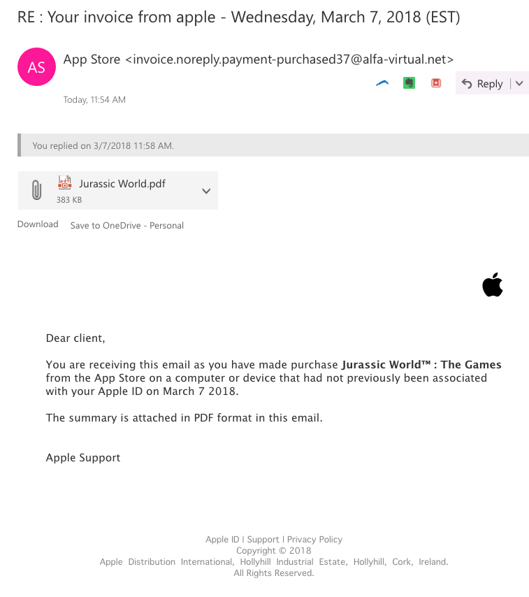 Fake purchase app store with phishing rec… - Apple Community
