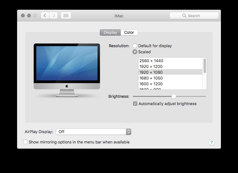 Can iMac 5K 2017 (18,3) show 1920x1080 re… - Apple Community