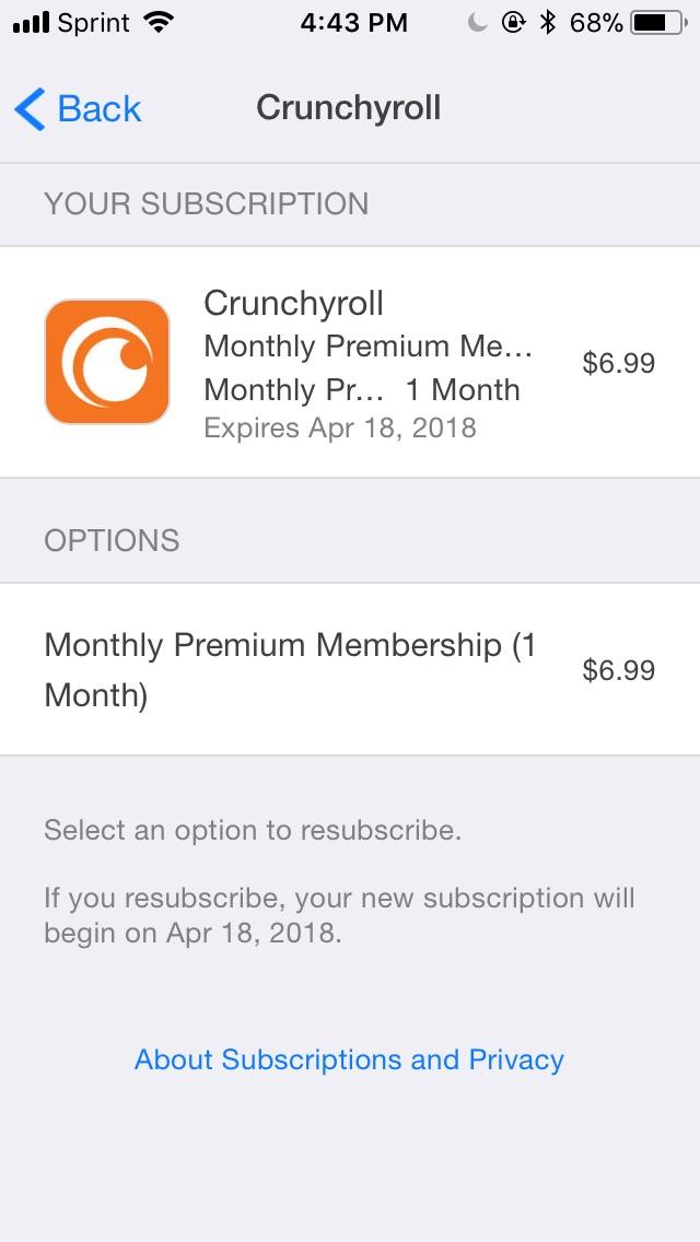 cancel crunchyroll membership itunes