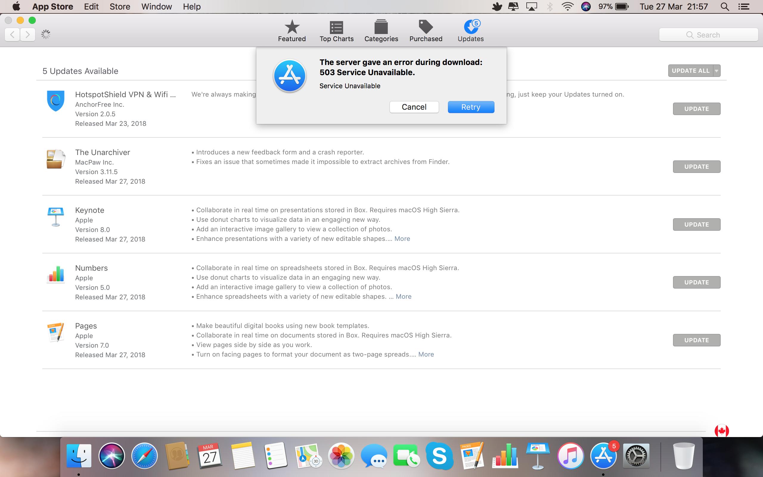 Mac App Store 503 Error - Apple Community