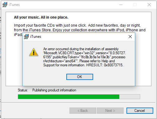 Unable to install iTunes on Windows 10 PC - Apple Community