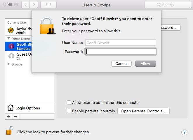 Unable to delete user on MacBook  - Apple Community