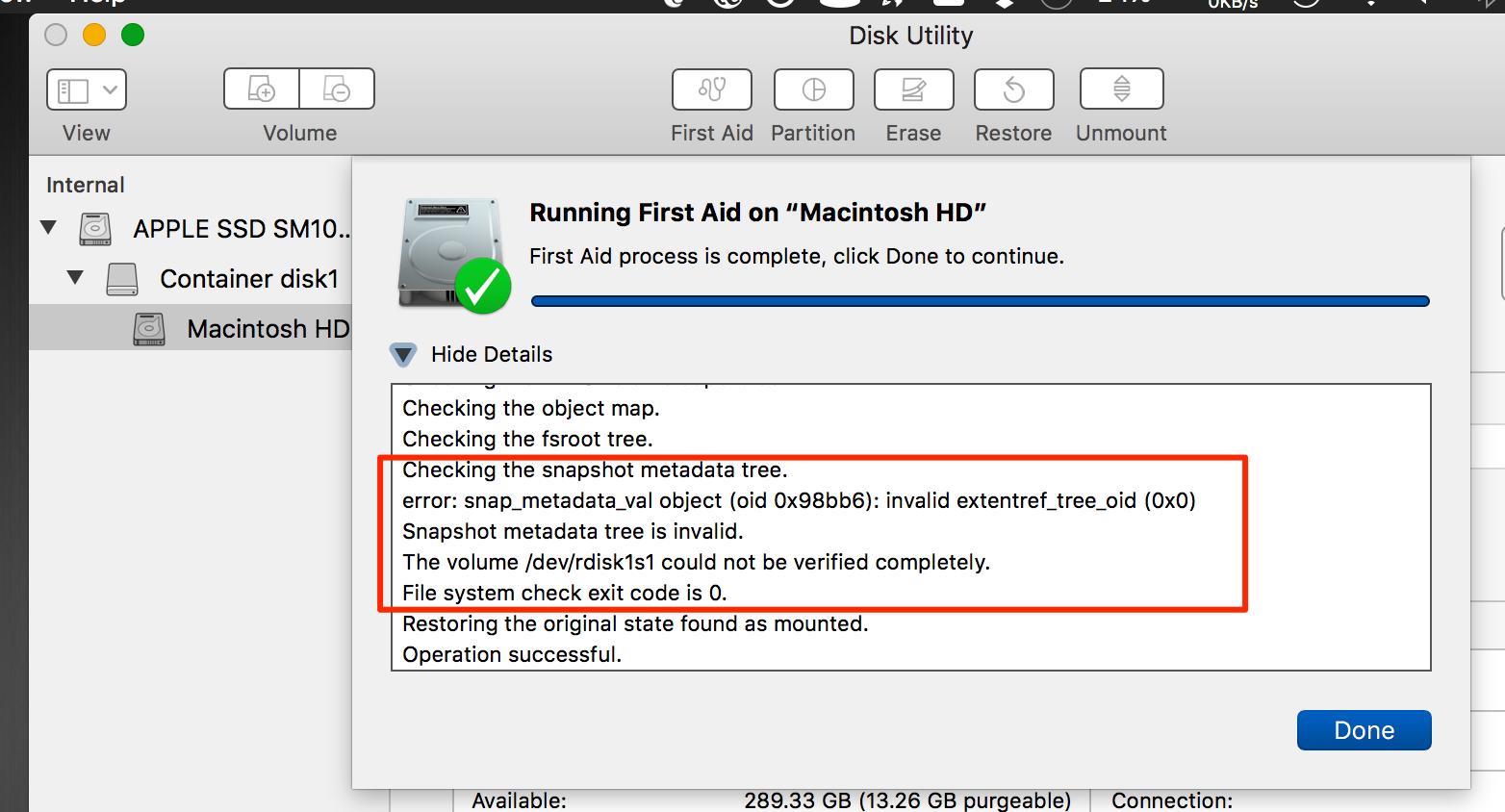 Error running First Aid on internal drive - Apple Community