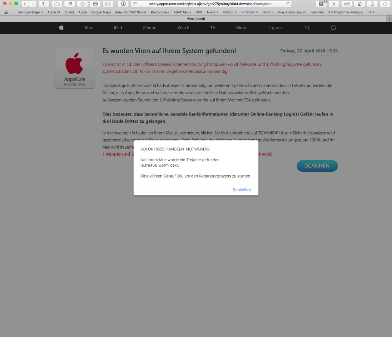 virus found on apple page - Apple Community