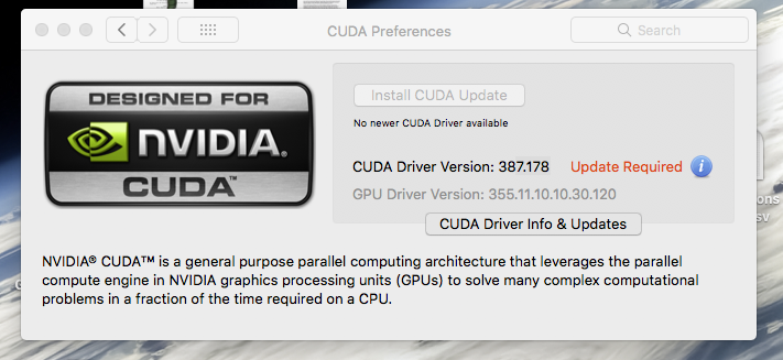Cuda update required - no newer cuda driv… - Apple Community