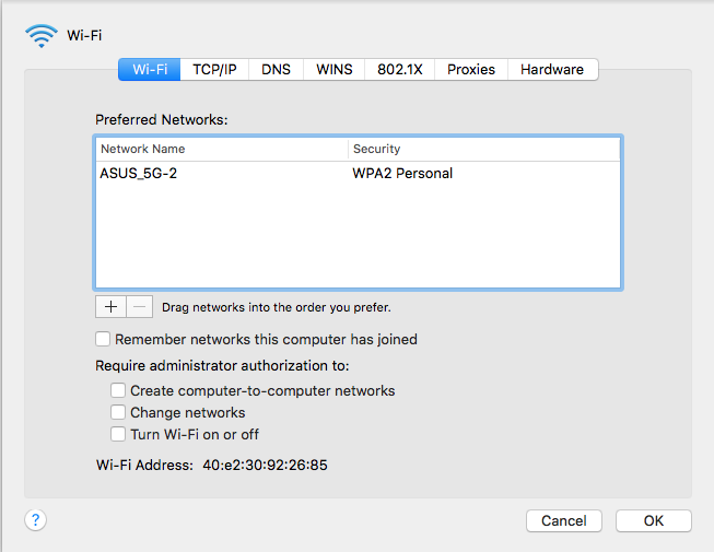 wifi does not have ip address macbook air