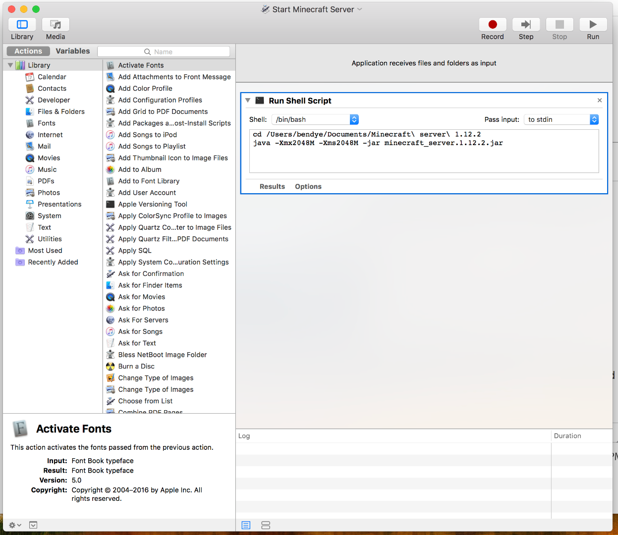 Help with Automator script to run termina… - Apple Community
