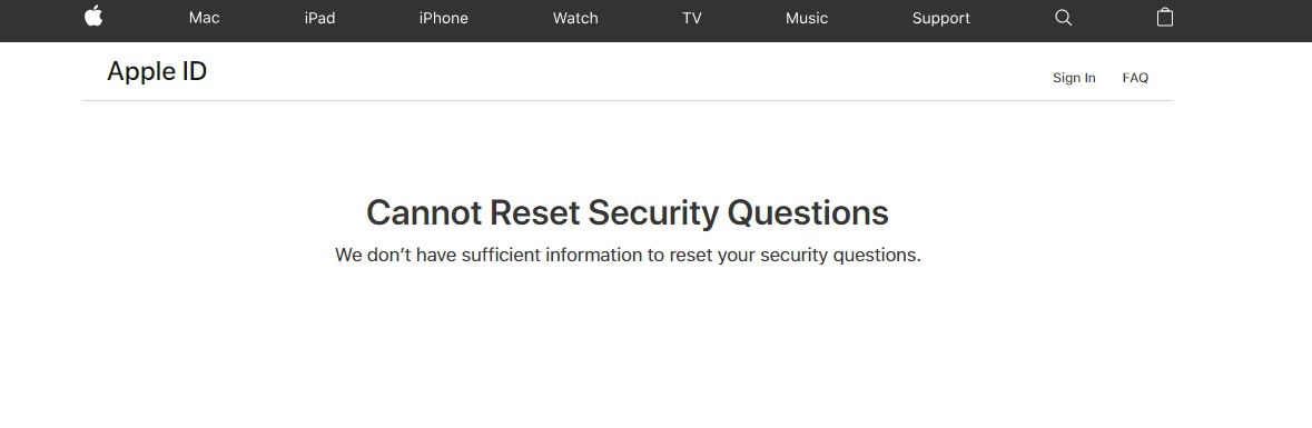 Cannot Reset Security Questions We … - Apple Community