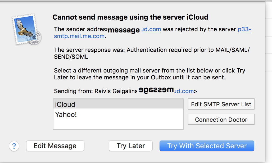 the sender address was rejected by the server mac mail