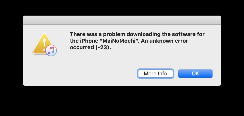Error -23 iTunes/iPhone since updating to… - Apple Community