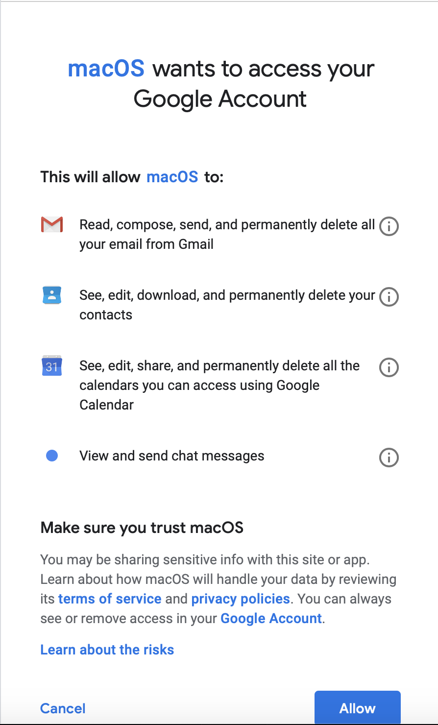 macOS wants access to your Google account - Apple Community