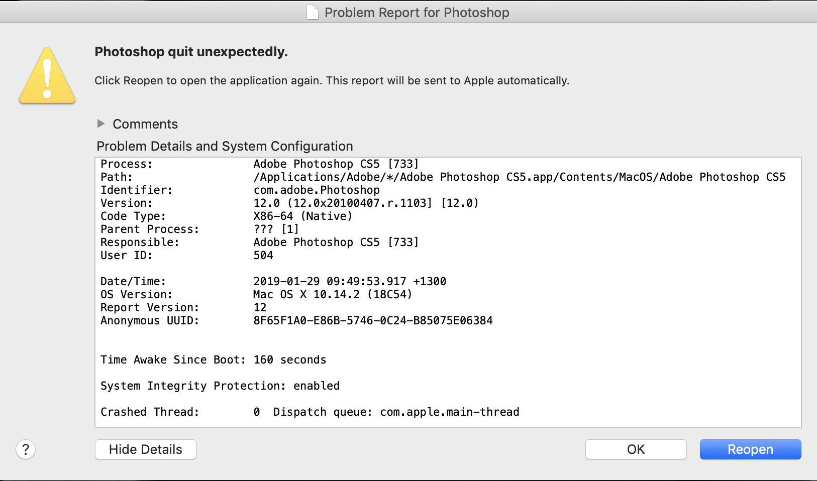 Mojave causes Photoshop CS5 to crash  Mac… - Apple Community