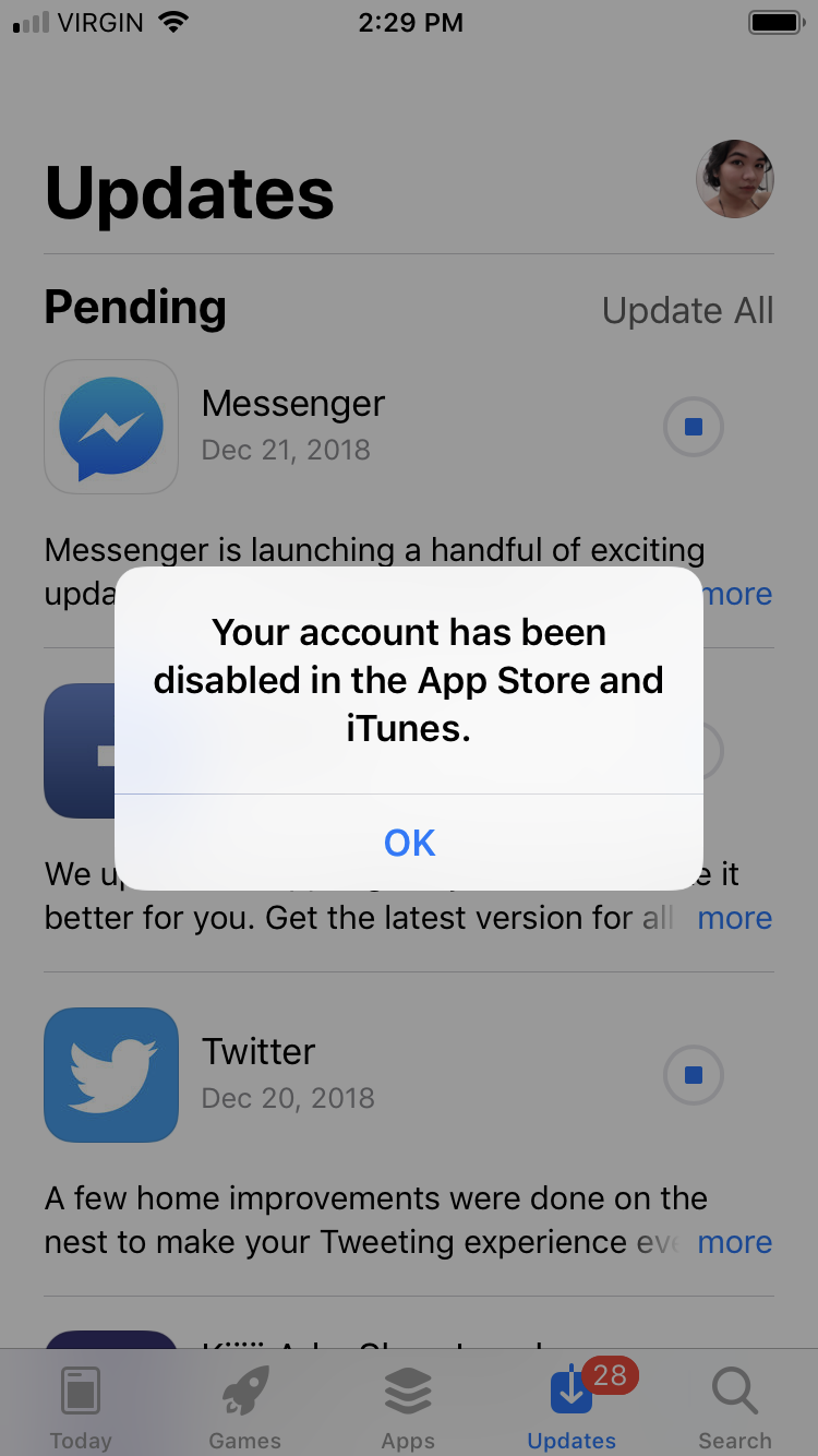 apple id is disabled app store