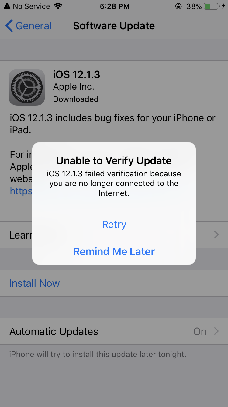 Cellular update failed after iOS update  … - Apple Community