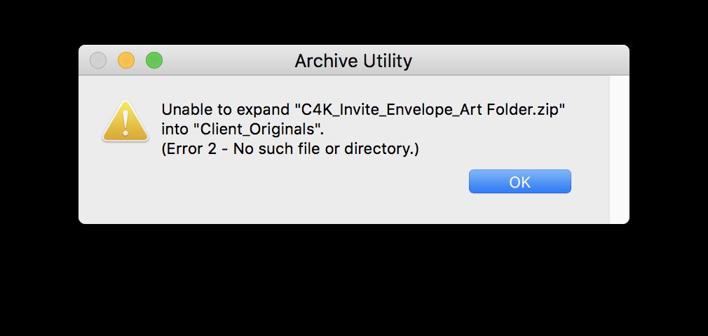Unable to expand filename zip into locati… - Apple Community